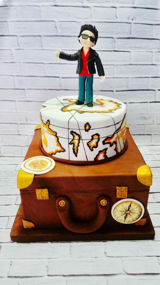 Tarta maleta, tarta mapa mundi, tarta autoestop, tartas personalizadas madrid, tartas decoradas madrid, tartas fondant madrid