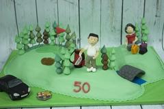figuras modeladas a mano de fondant, figura golf, tartas personalizadas madrid, tratas fondant madrid. tartas decoradas madrid