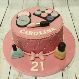 Tarta maquillaje,Tarta MAC,  tartas personalizadas madrid, tartas fondant madrid. tartas decoradas madrid