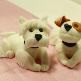 perros modelados fondant