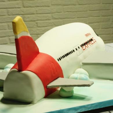 tartas de empresa, tarta logotipo, tartas aniversario, tartas corporativas, tarta Iberia Express, tarta avion 3D