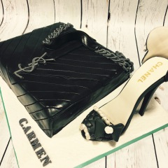 Tartas personalizadas madrid, tartas decoradas madrid, tartas fondant madrid, tarta bolso Yves Saint Laurent, tarta zapato chanel